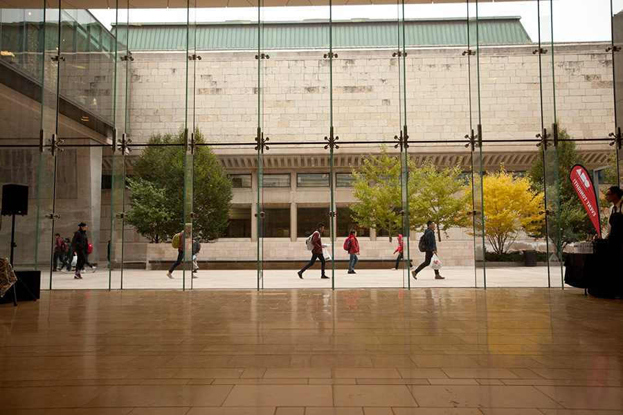 Looking out the chazen's lobby